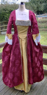 Silk Dress on Georgian Ladies Evening Dress Red Silk Damask   Costume Hire